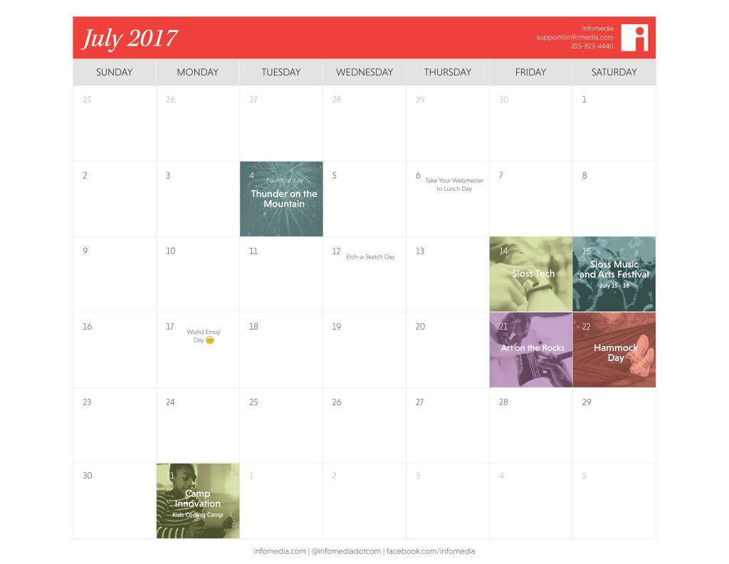 Our Free July 2017 Birmingham Calendar Is Here! | Infomedia