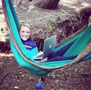 Valerie in a hammock