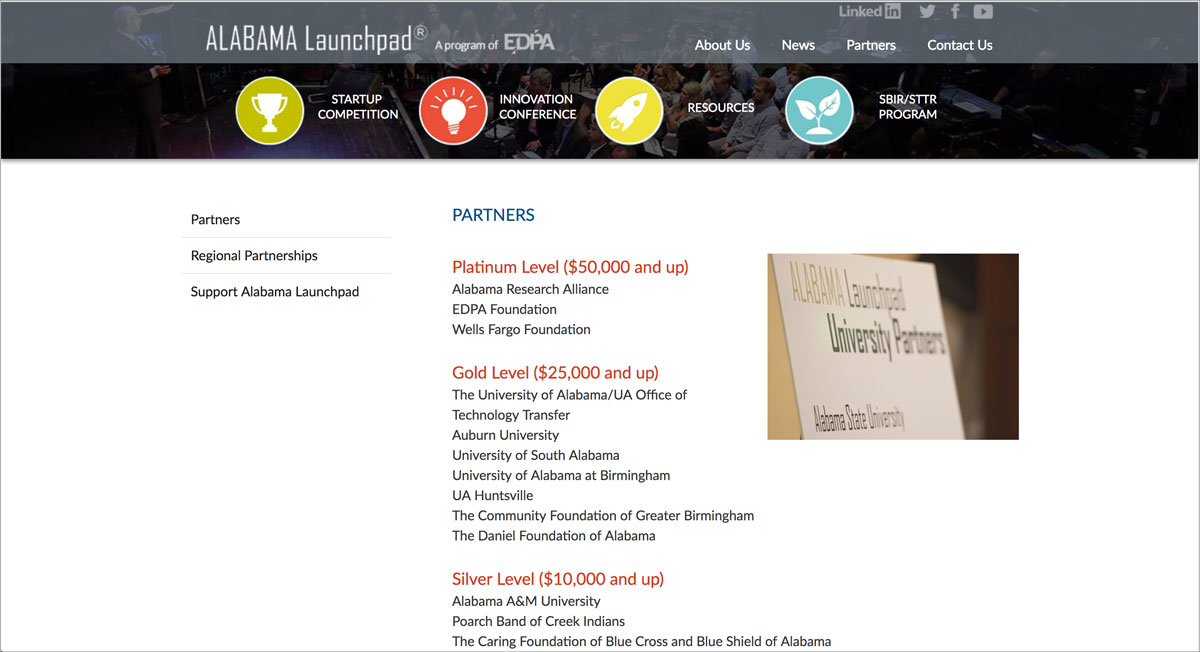 Screenshot of Alabama Launchpad homepage