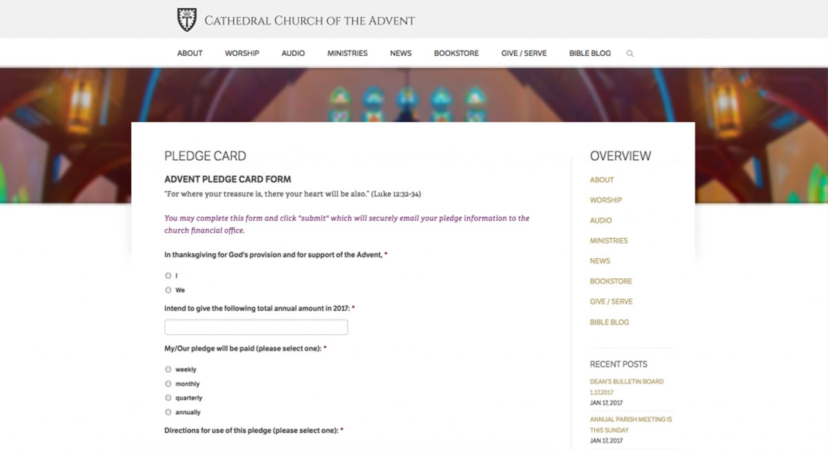 Cathedral Church of the Advent contact form page