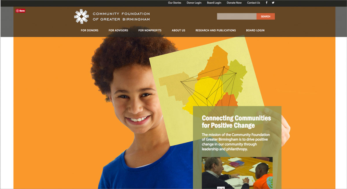 Screenshot of Community Foundation of Greater Birmingham homepage