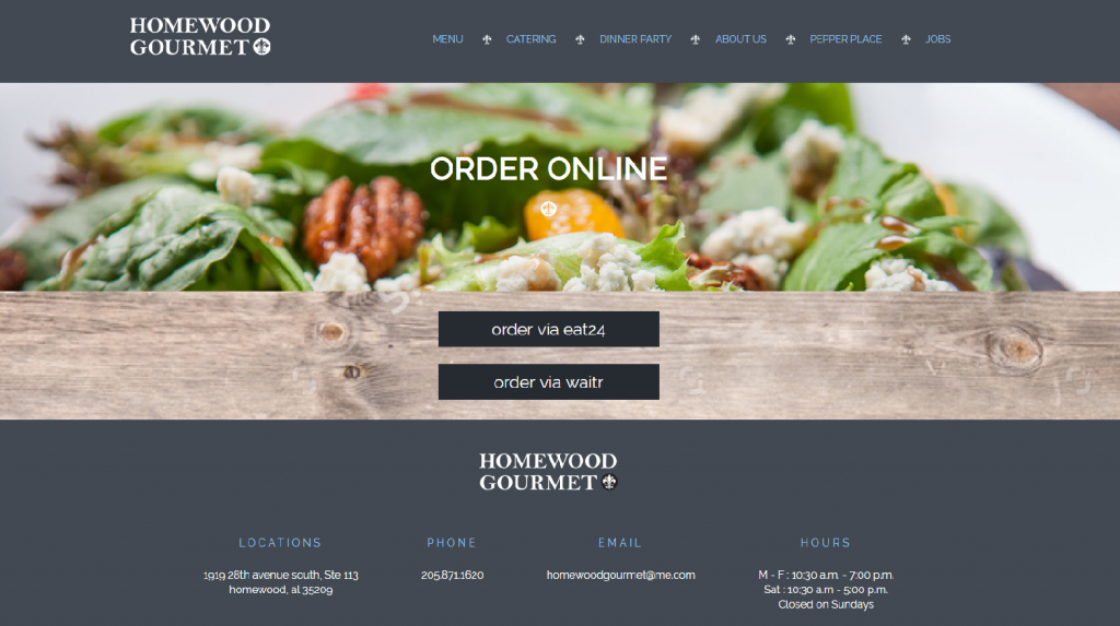 screenshot of homewood gourmet's ordering page