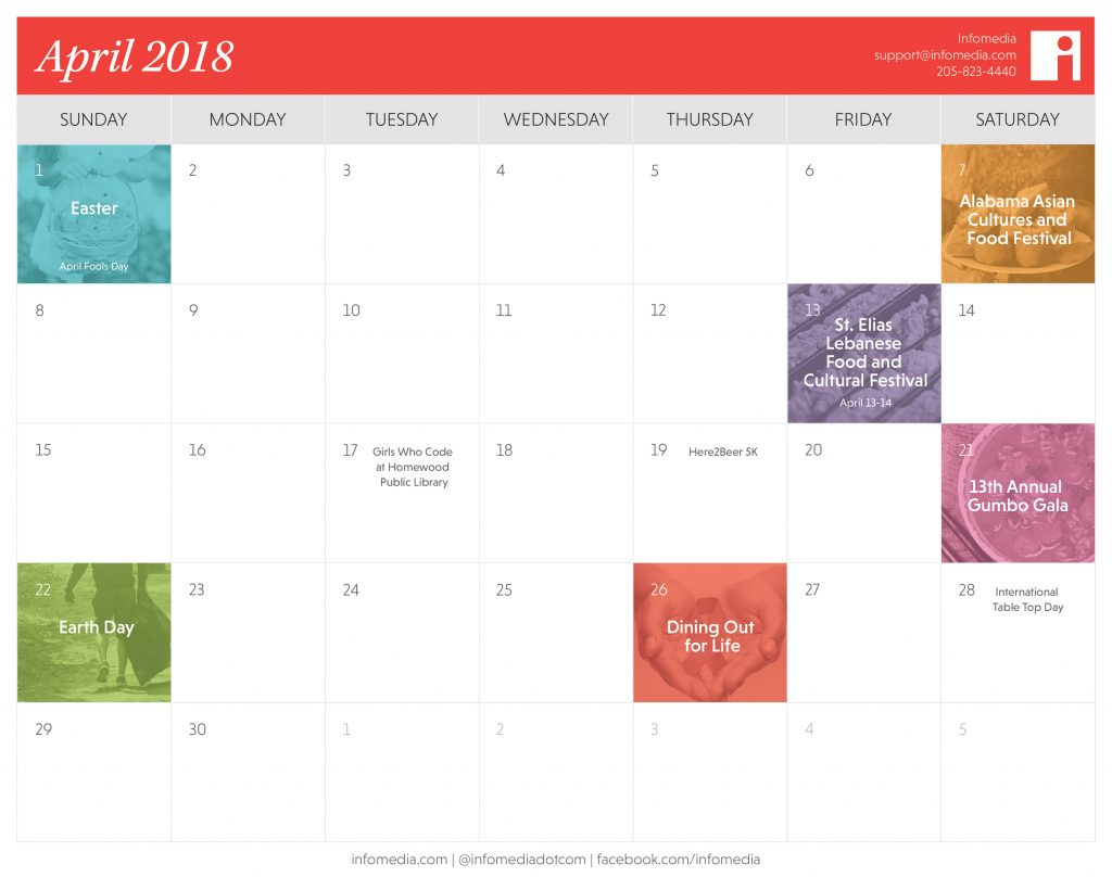 Calendar showing the events happening in birmingham during april 2018