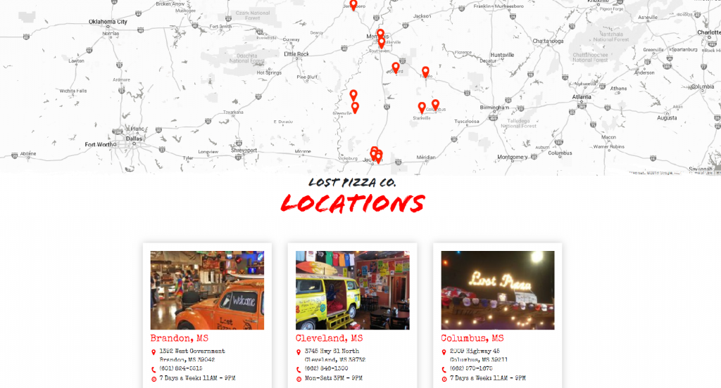 screenshot of lost pizza's locations map