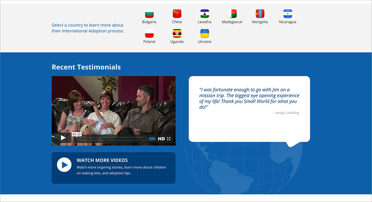 Screenshot of Small World Adoption testimonials website page