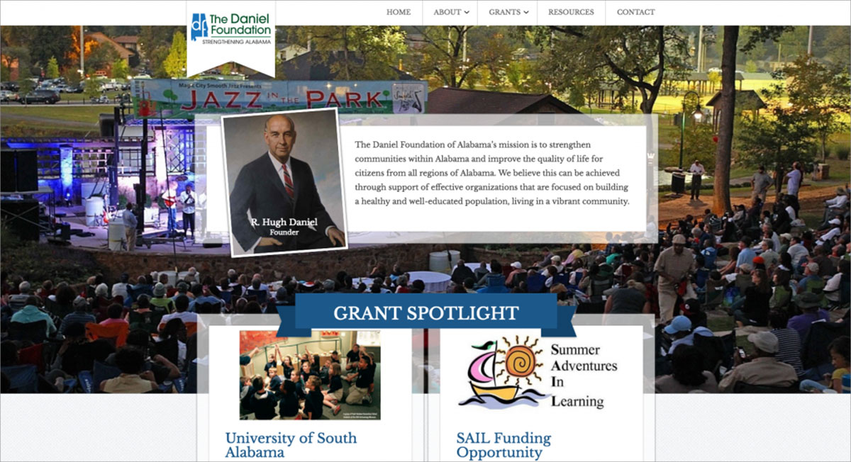 Screenshot of homepage of The Daniel Foundation located in Birmingham, AL
